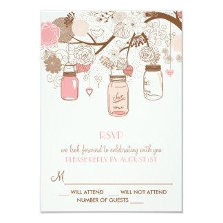 Vintage Pink Mason Jars and Flowers RSVP Card 9 Cm X 13 Cm Invitation Card