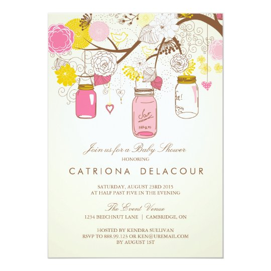Vintage Pink Mason Jars Baby Shower Invitation