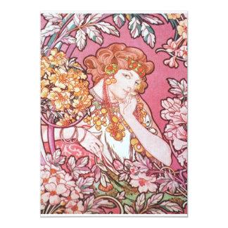 "Vintage Pink Mucha Art 5"" X 7"" Invitation Card"