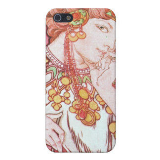 Vintage Pink Mucha Art iPhone 5/5S Cases