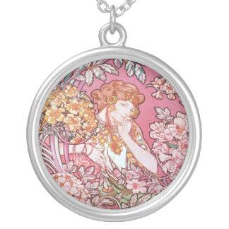 Vintage Pink Mucha Art Jewelry