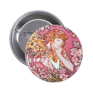 Vintage Pink Mucha Art Pinback Buttons