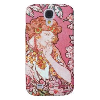 Vintage Pink Mucha Art Samsung Galaxy S4 Cases