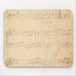 Vintage Pink Music Sheet Mouse Pad