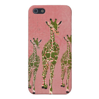 Vintage Pink Olive Giraffes i iPhone 5 Covers