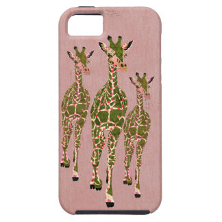 Vintage Pink  Olive  Giraffes iPhone Case iPhone 5 Case