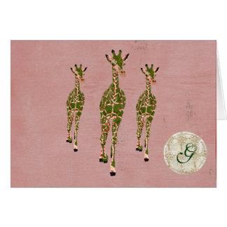 Vintage Pink Olive Giraffes Monogram Notecard Greeting Card