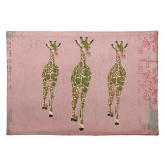 Vintage Pink Olive Giraffes Placemat