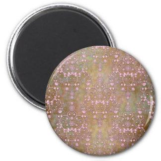 Vintage Pink over Brown Fancy Lace Damask 6 Cm Round Magnet