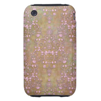 Vintage Pink over Brown Fancy Lace Damask iPhone 3 Tough Cover