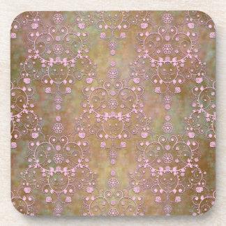 Vintage Pink over Brown Fancy Lace Damask Coaster