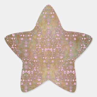 Vintage Pink over Brown Fancy Lace Damask Star Sticker