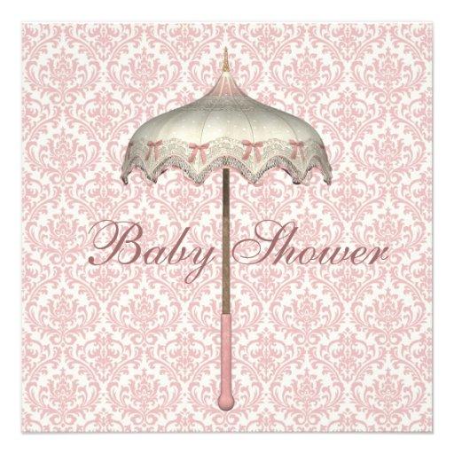 Vintage Pink Parasol Umbrella Baby Girl Shower Announcement