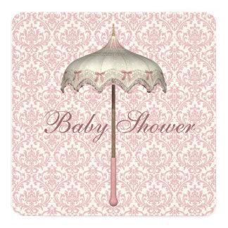 Vintage Pink Parasol Umbrella Baby Girl Shower 13 Cm X 13 Cm Square Invitation Card