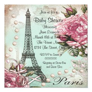 Vintage Pink Paris Baby Shower Invitations