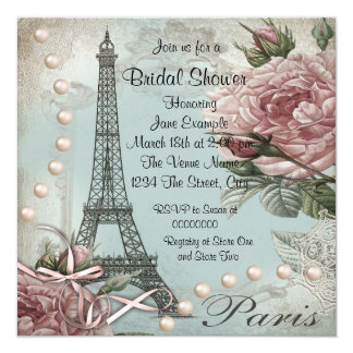 Vintage Pink Paris Bridal Shower Invitations