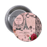 Vintage Pink Paris Collage 6 Cm Round Badge