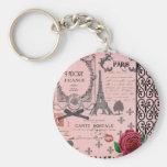 Vintage Pink Paris Collage Basic Round Button Key Ring