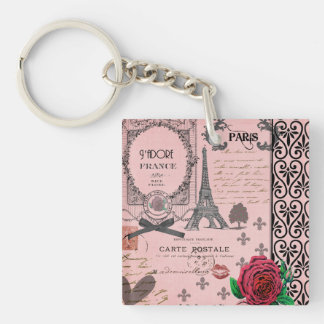 Vintage Pink Paris Collage personalized keychain