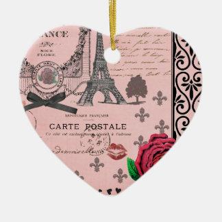 Vintage Pink Paris Collage romantic heart ornament