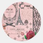 Vintage Pink Paris Collage Round Sticker