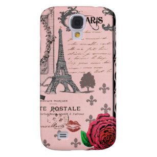 Vintage Pink Paris Collage Samsung Galaxy S4 Case