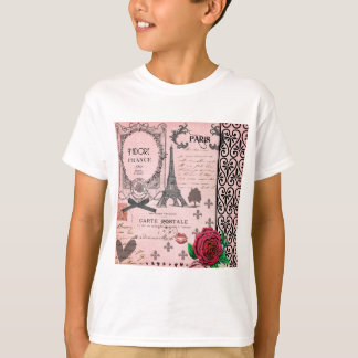 Vintage Pink Paris Collage T-shirt