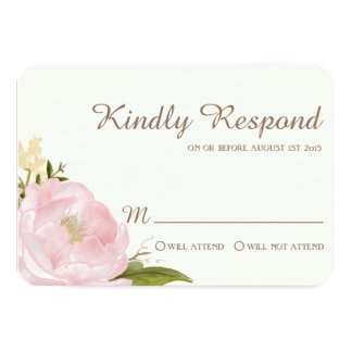 Vintage Pink Peonies Wedding RSVP Card 9 Cm X 13 Cm Invitation Card