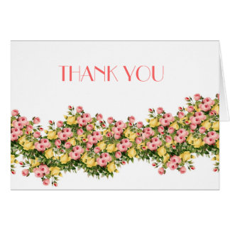 Vintage Pink Peony Floral Thank you Greeting Card