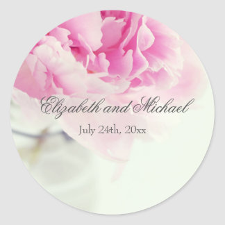 Vintage Pink Peony Mason Jar Wedding Favor Label
