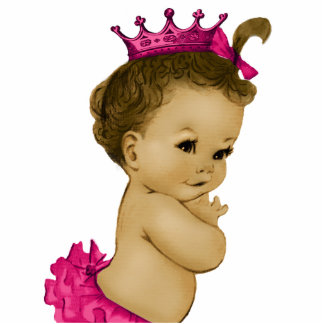 Vintage Pink Princess Baby Girl Shower Cut Out