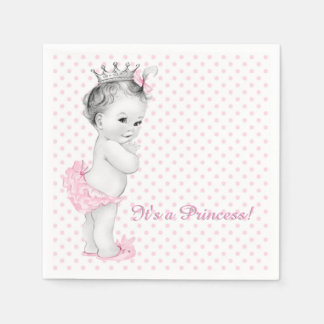 Vintage Pink Princess Baby Shower Paper Serviettes