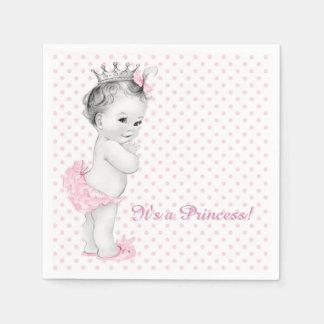 Vintage Pink Princess Baby Shower Paper Serviettes