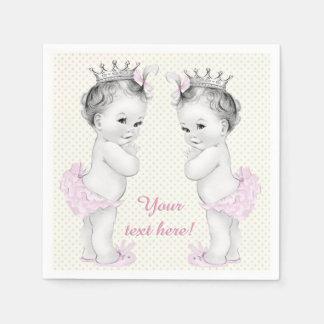 Vintage Pink Princess Twin Baby Girl Shower Disposable Serviettes