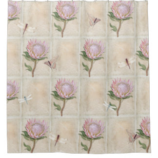 Vintage Pink Protea Flower Dragonfly Butterfly Art Shower Curtain