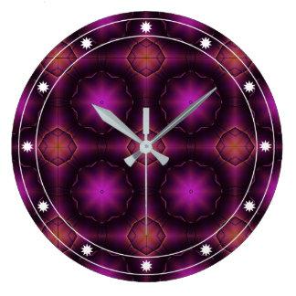 Vintage Pink Purple And Orange Mosaic Pattern Large Clock