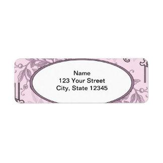 Vintage Pink Purple Floral Business Return Address Label