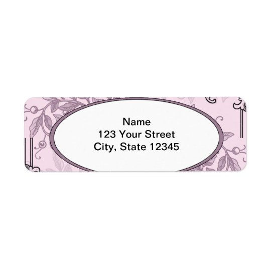 Vintage Pink Purple Floral Business Return Address Label