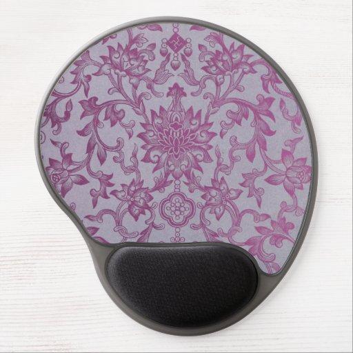 Vintage Pink Purple Floral Pattern Gel Mouse Mats