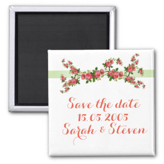 Vintage Pink Romantic Roses Save the date Refrigerator Magnets