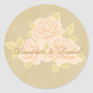Vintage pink romantic roses with golden fleurdelis classic round sticker