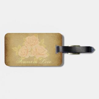 Vintage pink romantic roses with golden fleurdelis luggage tag
