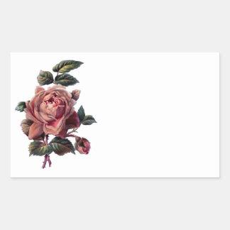 Vintage Pink Rose and Bud Rectangular Sticker