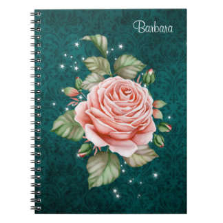 Vintage Pink Rose and Elegant Teal Pattern Spiral Notebook