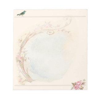 Vintage Pink Rose and Robin Wedding Business Notepad