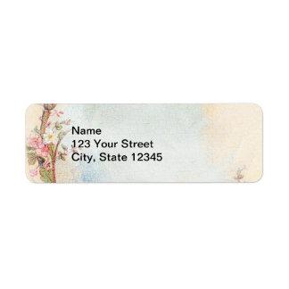 Vintage Pink Rose and Robin Wedding Business Return Address Label