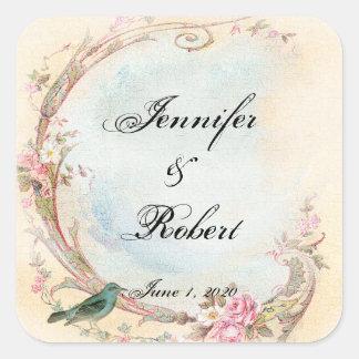 Vintage Pink Rose and Robin Wedding Envelope Seal Square Sticker