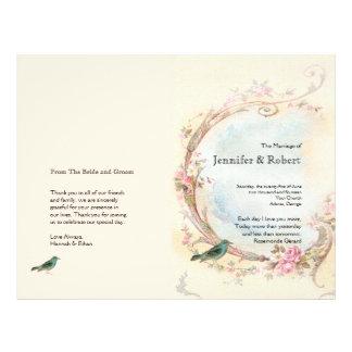 Vintage Pink Rose and Robin Wedding Program Flyer