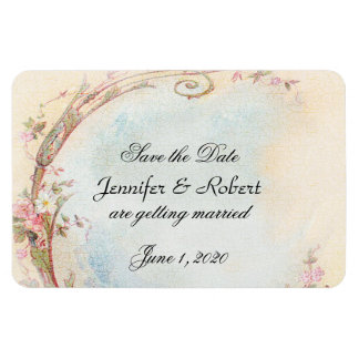 Vintage Pink Rose and Robin Wedding Save the Date Rectangular Photo Magnet