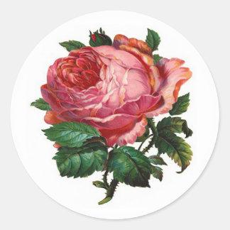 VINTAGE PINK ROSE CLASSIC ROUND STICKER
